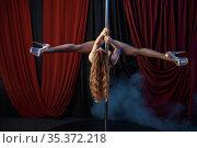 Showgirl, pole dance, striptease dancer. Стоковое фото, фотограф Tryapitsyn Sergiy / Фотобанк Лори