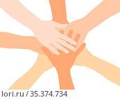 Viele gestapelte Hände von oben als Netzwerk und Motivation Konzept. Стоковое фото, фотограф Zoonar.com/Robert Kneschke / age Fotostock / Фотобанк Лори