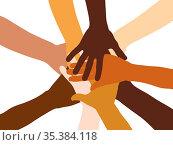 Viele gestapelte multikulturelle Hände von oben als Netzwerk und ... Стоковое фото, фотограф Zoonar.com/Robert Kneschke / age Fotostock / Фотобанк Лори