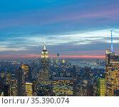 Night view of New York Manhattan during sunset (2013 год). Стоковое фото, фотограф Elnur / Фотобанк Лори