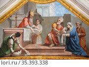 Jesus Christ in the Temple. Trompe l'oeil painting. Casimir Vicario... Стоковое фото, фотограф Catherine Leblanc / easy Fotostock / Фотобанк Лори