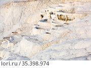 Natural travertine terraces with hot springs in Pamukkale, Turkey. Стоковое фото, фотограф Яков Филимонов / Фотобанк Лори