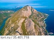 Cetina river canyon Adriatic sea and Biokovo mountain aerial view... Стоковое фото, фотограф Zoonar.com/Dalibor Brlek / easy Fotostock / Фотобанк Лори
