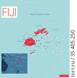 FIJI detailed editable map. Стоковая иллюстрация, иллюстратор Jan Jack Russo Media / Фотобанк Лори