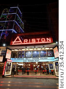 A view of the outside of the Ariston theater where it will take place... Редакционное фото, фотограф Maria Laura Antonelli / AGF/Maria Laura Antonelli / age Fotostock / Фотобанк Лори