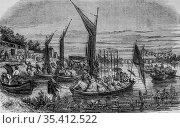 The fleet of bercy, paris painting by edmond texier, publisher paulin... (2009 год). Редакционное фото, фотограф Louis Bertrand / age Fotostock / Фотобанк Лори
