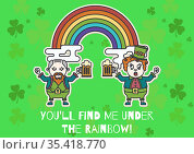 You'll find me under the rainbow text with leprechauns holding glasses of beer on green background. Стоковое фото, агентство Wavebreak Media / Фотобанк Лори