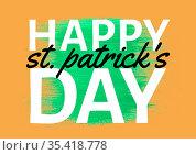 Happy st patrick's day text over green and orange background. Стоковое фото, агентство Wavebreak Media / Фотобанк Лори