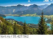 View of Alps mountain with Wolfgangsee lake from Schafberg mountain... Стоковое фото, фотограф Zoonar.com/Boris Breytman / easy Fotostock / Фотобанк Лори