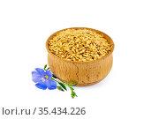 Семена белые льняные в чаше с цветком. Стоковое фото, фотограф Резеда Костылева / Фотобанк Лори