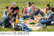 Positive people sitting on picnic together. Стоковое фото, фотограф Яков Филимонов / Фотобанк Лори