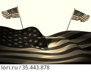 Composition of american flag with two smaller american flags blowing opposite directions behind. Стоковое фото, агентство Wavebreak Media / Фотобанк Лори