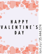 Happy valentine's day text with illustration of hearts on white background. Стоковое фото, агентство Wavebreak Media / Фотобанк Лори