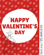 Happy valentine's day text in white circle and hearts on red background. Стоковое фото, агентство Wavebreak Media / Фотобанк Лори