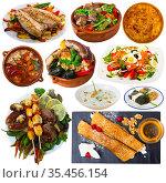 Tasty dishes of traditional Bulgarian cuisine at plates isolated. Стоковое фото, фотограф Яков Филимонов / Фотобанк Лори
