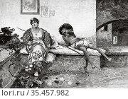 The lovers, copy of a painting of Eduardo Dalbono (1841-1915) Old... Стоковое фото, фотограф Jerónimo Alba / age Fotostock / Фотобанк Лори