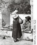 The mandolin player. Old 19th century engraved illustration, El Mundo... Стоковое фото, фотограф Jerónimo Alba / age Fotostock / Фотобанк Лори