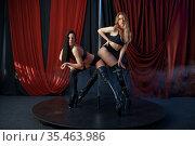 Two sexy showgirls on stage, striptease dancers. Стоковое фото, фотограф Tryapitsyn Sergiy / Фотобанк Лори