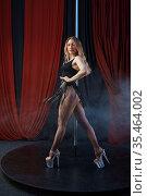 Sexy showgirl on stage, pole dance, striptease. Стоковое фото, фотограф Tryapitsyn Sergiy / Фотобанк Лори