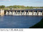 Hydro power station on river Volkhov, Russia. Стоковое фото, фотограф Куликов Константин / Фотобанк Лори