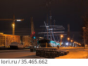 Vintage sailing boat is moored in Turku (2016 год). Стоковое фото, фотограф EugeneSergeev / Фотобанк Лори