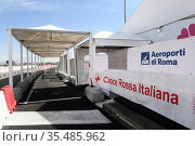The Covid-19 Vaccination Center at Fiumicino Airport Leonardo da ... Редакционное фото, фотограф Maria Laura Antonelli / AGF/Maria Laura Antonelli / age Fotostock / Фотобанк Лори