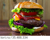 Hamburger with beef and ketchup, tomato, cheese, cucumber and lettuce. Стоковое фото, фотограф Яков Филимонов / Фотобанк Лори