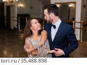 Adult couple dancing classical partner dance. Стоковое фото, фотограф Евгений Харитонов / Фотобанк Лори