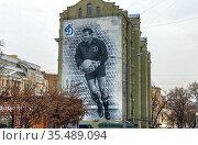 Граффити со Львом Яшиным на Народной улице в Москве. Редакционное фото, фотограф Владимир Сергеев / Фотобанк Лори