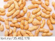 Background from peanuts nuts. Peanuts in shells and clean kernels... Стоковое фото, фотограф Zoonar.com/Vasiliy Deineka (c) / easy Fotostock / Фотобанк Лори