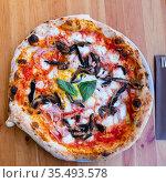 Tasty pizza with eggplant and ham. Стоковое фото, фотограф Яков Филимонов / Фотобанк Лори