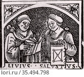 Sallust (Gaius Sallustrius Crispus) (16-34 BC) right, Roman historian... Редакционное фото, агентство World History Archive / Фотобанк Лори