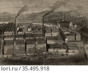 J & J Clark's Anchor Thread Works, Paisley, Scotland. c1880. Engraving. Редакционное фото, агентство World History Archive / Фотобанк Лори