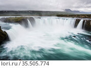 Gorgeous Godafoss waterfalls in north Iceland. Slow shutter speed... Стоковое фото, фотограф Zoonar.com/IMSS / easy Fotostock / Фотобанк Лори
