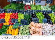 Große Auswahl an frischem Gemüse zum Verkauf auf einem Markt. Стоковое фото, фотограф Zoonar.com/elxeneize / easy Fotostock / Фотобанк Лори