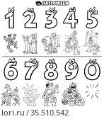 Black and White Cartoon Illustration of Educational Numbers Set from... Стоковое фото, фотограф Zoonar.com/Igor Zakowski / easy Fotostock / Фотобанк Лори