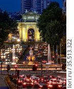 La Cibeles Plaza. Madrid Traffic. Calle Alcala. Madrid. Spain. Стоковое фото, фотограф Luis Castañeda / age Fotostock / Фотобанк Лори