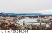 Panoramic view of the city of Budapest and the Danube from Gellert hill. Стоковое фото, фотограф Николай Коржов / Фотобанк Лори