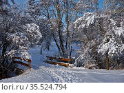 Winterstimmung am Bach mit Brücke, bei Mössingen-Belsen, Baden Württemberg... Стоковое фото, фотограф Zoonar.com/Jürgen Vogt / easy Fotostock / Фотобанк Лори