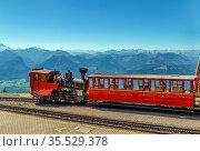 Schafberg Railway is a metre gauge cog railway leading from Sankt... Стоковое фото, фотограф Zoonar.com/Boris Breytman / easy Fotostock / Фотобанк Лори