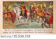 France, Histoire de France ( Cour Elèmentaire 1er. année, 1933).Vercingetorix... Стоковое фото, фотограф J.D. Dallet / age Fotostock / Фотобанк Лори