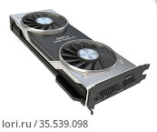 Graphics card. Modern gaming GPU graphics processing unit isolated on white. Стоковое фото, фотограф Maksym Yemelyanov / Фотобанк Лори