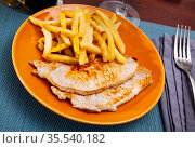 Baked pork meat with garnish of fried potato. Стоковое фото, фотограф Яков Филимонов / Фотобанк Лори