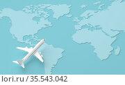 Traveling around the world by plane. 3d rendering. Стоковая иллюстрация, иллюстратор Евдокимов Максим / Фотобанк Лори