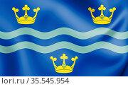 3D Flag of Cambridgeshire, England. 3D Illustration. Стоковое фото, фотограф Zoonar.com/Inna Popkova / easy Fotostock / Фотобанк Лори