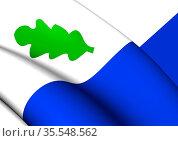 3D Flag of Oirschot (North Brabant), Netherlands. 3D Illustration. Стоковое фото, фотограф Zoonar.com/Inna Popkova / easy Fotostock / Фотобанк Лори