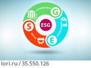 ESG concept as the environmental and social governance. Стоковое фото, фотограф Zoonar.com/Elnur Amikishiyev / easy Fotostock / Фотобанк Лори