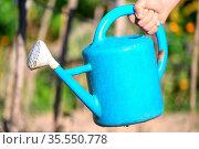 Farmer hand holding a watering can. High quality photo. Стоковое фото, фотограф Zoonar.com/DAVID HERRAEZ CALZADA / easy Fotostock / Фотобанк Лори