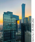 Towers in Central Business District of Beijing with CITIC Tower super... Стоковое фото, фотограф Zoonar.com/Thomas De Wever / age Fotostock / Фотобанк Лори