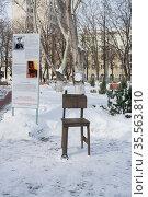 Лечебный стул и стенд, рассказывающий о концепции стула (2012 год). Редакционное фото, фотограф Петрова Ольга / Фотобанк Лори